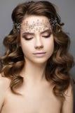 Όμορφο κορίτσι σε μια εικόνα της νύφης με diadem στο κεφάλι της Πρόσωπο ομορφιάς στοκ φωτογραφίες με δικαίωμα ελεύθερης χρήσης