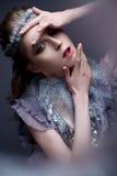 Όμορφο κορίτσι στην εικόνα της κρύας βασίλισσας με τον παγετό στα φρύδια του Το πρότυπο με το δημιουργικό makeup και κορώνα στο κ στοκ φωτογραφίες με δικαίωμα ελεύθερης χρήσης