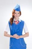 Όμορφο κορίτσι στις μπλε στολές στοκ εικόνα με δικαίωμα ελεύθερης χρήσης