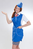 Όμορφο κορίτσι στις μπλε στολές στοκ εικόνα