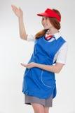 Όμορφο κορίτσι στις μπλε στολές στοκ φωτογραφίες