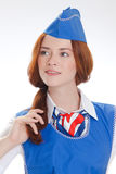 Όμορφο κορίτσι στις μπλε στολές στοκ φωτογραφία με δικαίωμα ελεύθερης χρήσης