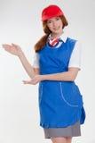 Όμορφο κορίτσι στις μπλε στολές στοκ εικόνες με δικαίωμα ελεύθερης χρήσης