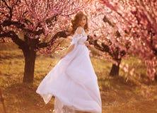 Όμορφο κορίτσι στον κήπο ροδάκινων στοκ εικόνες