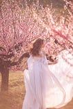 Όμορφο κορίτσι στον κήπο ροδάκινων στοκ εικόνα