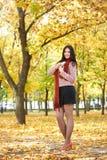 Όμορφο κορίτσι στο κίτρινο πάρκο πόλεων, εποχή πτώσης Στοκ Εικόνες