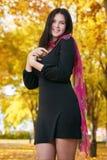 Όμορφο κορίτσι στο μαύρο φόρεμα στο κίτρινο πάρκο πόλεων, εποχή πτώσης Στοκ εικόνες με δικαίωμα ελεύθερης χρήσης