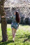 Όμορφο κορίτσι στο πλήρες lengh φορεμάτων φαντασίας πίσω σε έναν κήπο Στοκ εικόνα με δικαίωμα ελεύθερης χρήσης