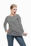 Όμορφο κορίτσι στο πουκάμισο ναυτικών Στοκ φωτογραφία με δικαίωμα ελεύθερης χρήσης