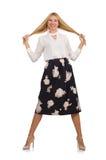 Όμορφο κορίτσι φούστα με τα λουλούδια που απομονώνεται στη μαύρη Στοκ φωτογραφία με δικαίωμα ελεύθερης χρήσης