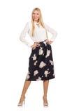 Όμορφο κορίτσι φούστα με τα λουλούδια που απομονώνεται στη μαύρη Στοκ Εικόνα