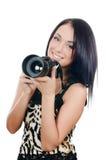 όμορφο κορίτσι φωτογραφικών μηχανών Στοκ Φωτογραφία