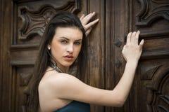 Όμορφο κορίτσι brunette υπαίθρια με το κομψό φόρεμα Στοκ Εικόνες