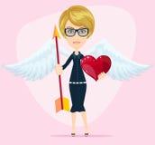 Όμορφο κορίτσι cupid, διανυσματική απεικόνιση Στοκ Εικόνες