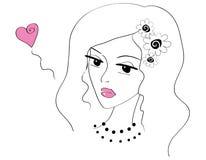 Όμορφο κορίτσι doodle ερωτευμένο Στοκ φωτογραφία με δικαίωμα ελεύθερης χρήσης