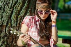 Όμορφο κορίτσι hippie Στοκ Εικόνα