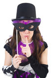 Όμορφο κορίτσι jester στο κοστούμι με τη μάσκα που απομονώνεται Στοκ Φωτογραφίες