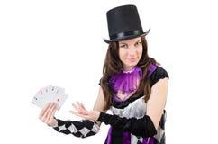 Όμορφο κορίτσι jester στο κοστούμι με τις κάρτες που απομονώνεται Στοκ Εικόνα