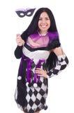 Όμορφο κορίτσι jester στο κοστούμι που απομονώνεται στο λευκό Στοκ εικόνα με δικαίωμα ελεύθερης χρήσης