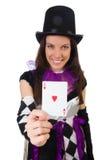 Όμορφο κορίτσι jester στο κοστούμι που απομονώνεται στο λευκό Στοκ Φωτογραφία