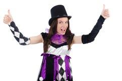 Όμορφο κορίτσι jester στο κοστούμι που απομονώνεται στο λευκό Στοκ εικόνες με δικαίωμα ελεύθερης χρήσης