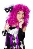 Όμορφο κορίτσι jester στο κοστούμι που απομονώνεται στο λευκό Στοκ Εικόνα