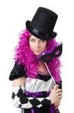 Όμορφο κορίτσι jester στο κοστούμι που απομονώνεται στο λευκό Στοκ φωτογραφία με δικαίωμα ελεύθερης χρήσης