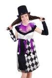 Όμορφο κορίτσι jester στο κοστούμι που απομονώνεται στο λευκό Στοκ φωτογραφίες με δικαίωμα ελεύθερης χρήσης