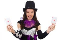 Όμορφο κορίτσι jester στο κοστούμι στο λευκό Στοκ φωτογραφία με δικαίωμα ελεύθερης χρήσης