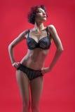 Όμορφο κορίτσι lingerie στην τοποθέτηση σε ένα κόκκινο υπόβαθρο Στοκ εικόνες με δικαίωμα ελεύθερης χρήσης