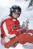 όμορφο κορίτσι snowborder στοκ εικόνα