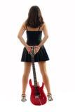 όμορφο κόκκινο κιθάρων κοριτσιών Στοκ εικόνες με δικαίωμα ελεύθερης χρήσης