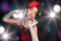 όμορφο κόκκινο κοριτσιών &la Στοκ Εικόνες