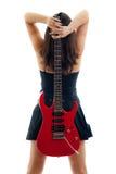 όμορφο κόκκινο λευκό κιθάρων κοριτσιών Στοκ Εικόνα