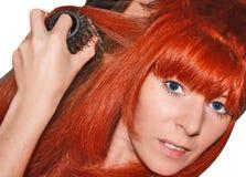 όμορφο κόκκινο τριχώματος κοριτσιών Στοκ Εικόνα