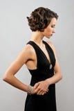 όμορφο μαύρο κορίτσι φορεμάτων brunette Στοκ εικόνα με δικαίωμα ελεύθερης χρήσης