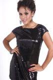 όμορφο μαύρο φόρεμα λίγη νεολαία γυναικών στοκ φωτογραφία με δικαίωμα ελεύθερης χρήσης
