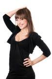 όμορφο μαύρο φόρεμα brunette στοκ εικόνες