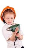 Όμορφο μικρό κορίτσι με το τρυπάνι στοκ φωτογραφία με δικαίωμα ελεύθερης χρήσης