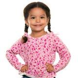 Όμορφο μικτό μικρό κορίτσι φυλών που απομονώνεται στο λευκό Στοκ φωτογραφία με δικαίωμα ελεύθερης χρήσης