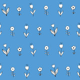 Όμορφο μονοχρωματικό σύνολο λουλουδιών, διανυσματικό άνευ ραφής σχέδιο Στοκ Εικόνες