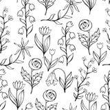 Όμορφο μονοχρωματικό σύνολο λουλουδιών, διανυσματικό άνευ ραφής σχέδιο Στοκ Εικόνα
