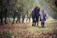 Όμορφο μοντέρνο κορίτσι σε ένα καπέλο κάουμποϋ με ένα άλογο που περπατά στο δάσος φθινοπώρου, ύφος χωρών Στοκ εικόνα με δικαίωμα ελεύθερης χρήσης