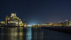 Όμορφο μουσείο της ισλαμικής νύχτας τέχνης timelapse σε Doha, Κατάρ φιλμ μικρού μήκους
