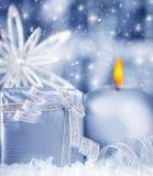 Όμορφο μπλε ασημένιο δώρο Στοκ Εικόνες