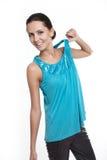 όμορφο μπλε Τζέρσεϋ που χαμογελά τη μοντέρνη γυναίκα Στοκ φωτογραφία με δικαίωμα ελεύθερης χρήσης