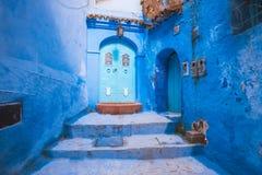 Όμορφο μπλε medina της πόλης Chefchaouen στο Μαρόκο Αφρική Στοκ εικόνα με δικαίωμα ελεύθερης χρήσης