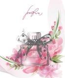 Όμορφο μπουκάλι αρώματος με τα ανθίζοντας όμορφα ρόδινα λουλούδια Διάνυσμα προτύπων διανυσματική απεικόνιση