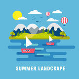 όμορφο μπλε καλοκαίρι τοπίων ανασκόπησης Στοκ Εικόνα