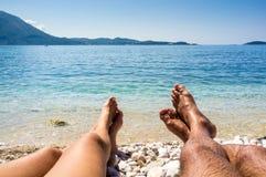 Όμορφο μπλε νερό, παραλία στην Κροατία Στοκ Εικόνα